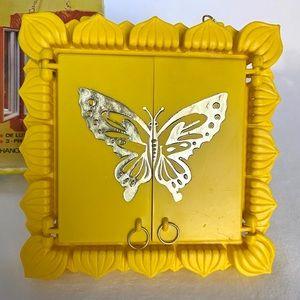 Vintage Bath - Vintage 1970's Yellow Butterly Vanity Mirror